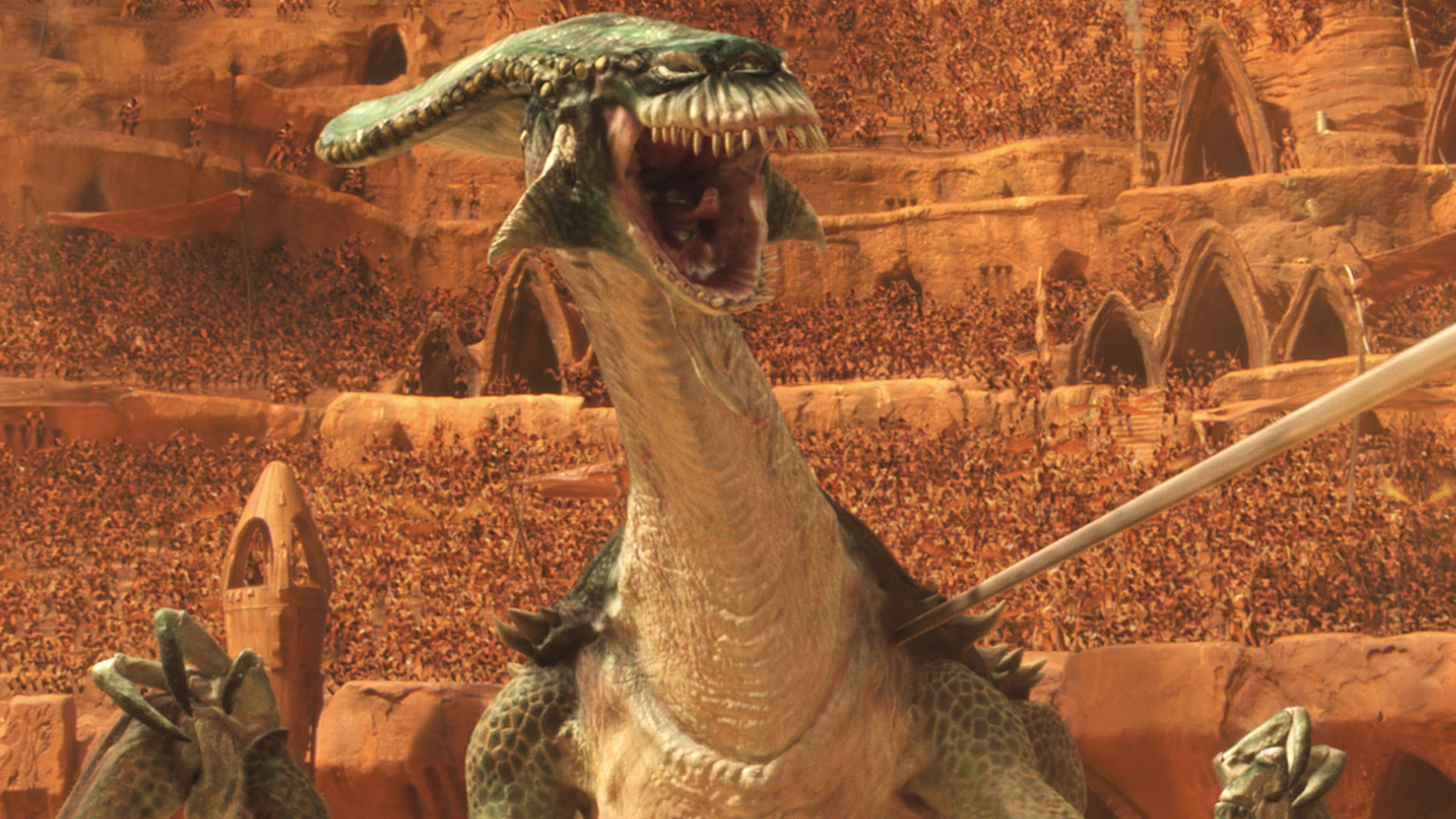 The Acklay attacks in Attack of the Clones.