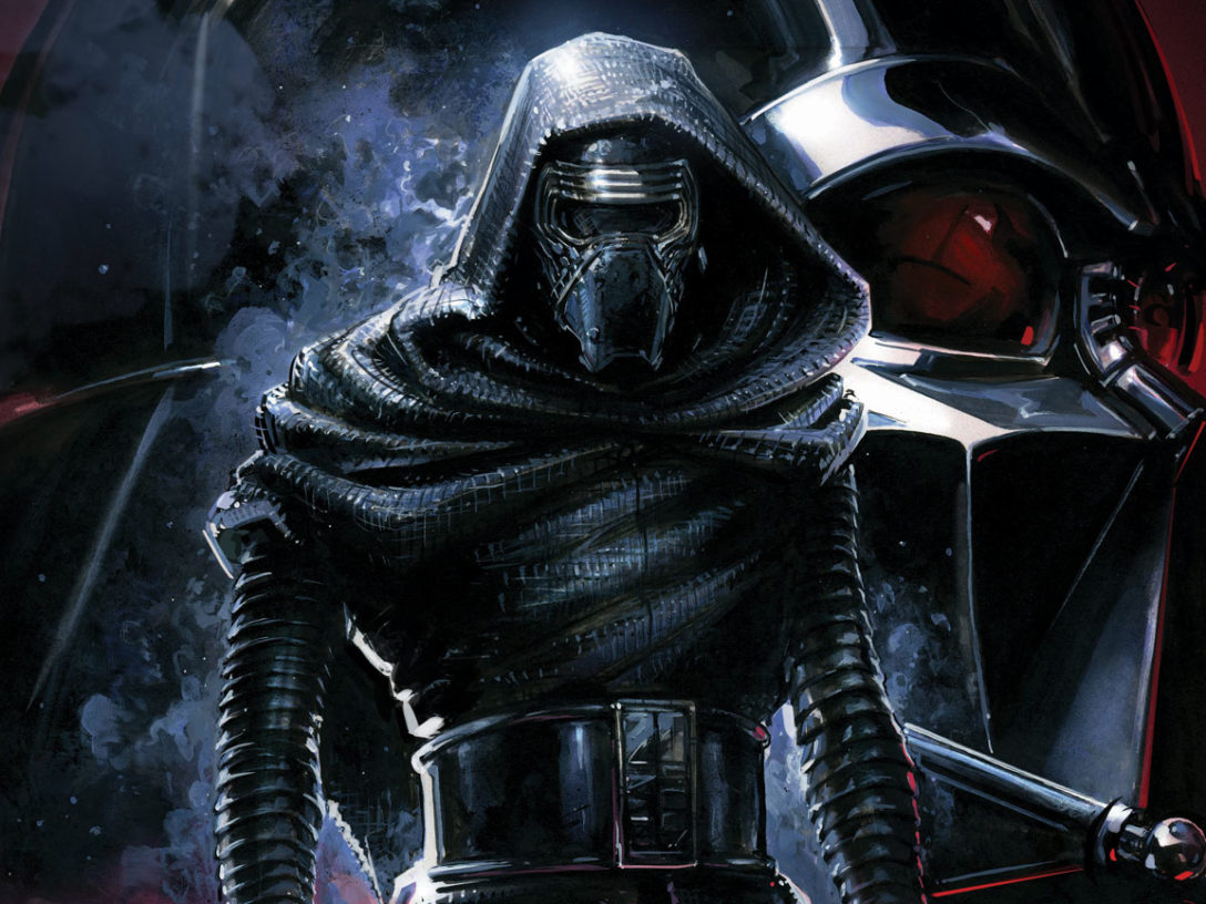 The Rise of Kylo Ren cover image featuring Kylo Ren backed by Darth Vader