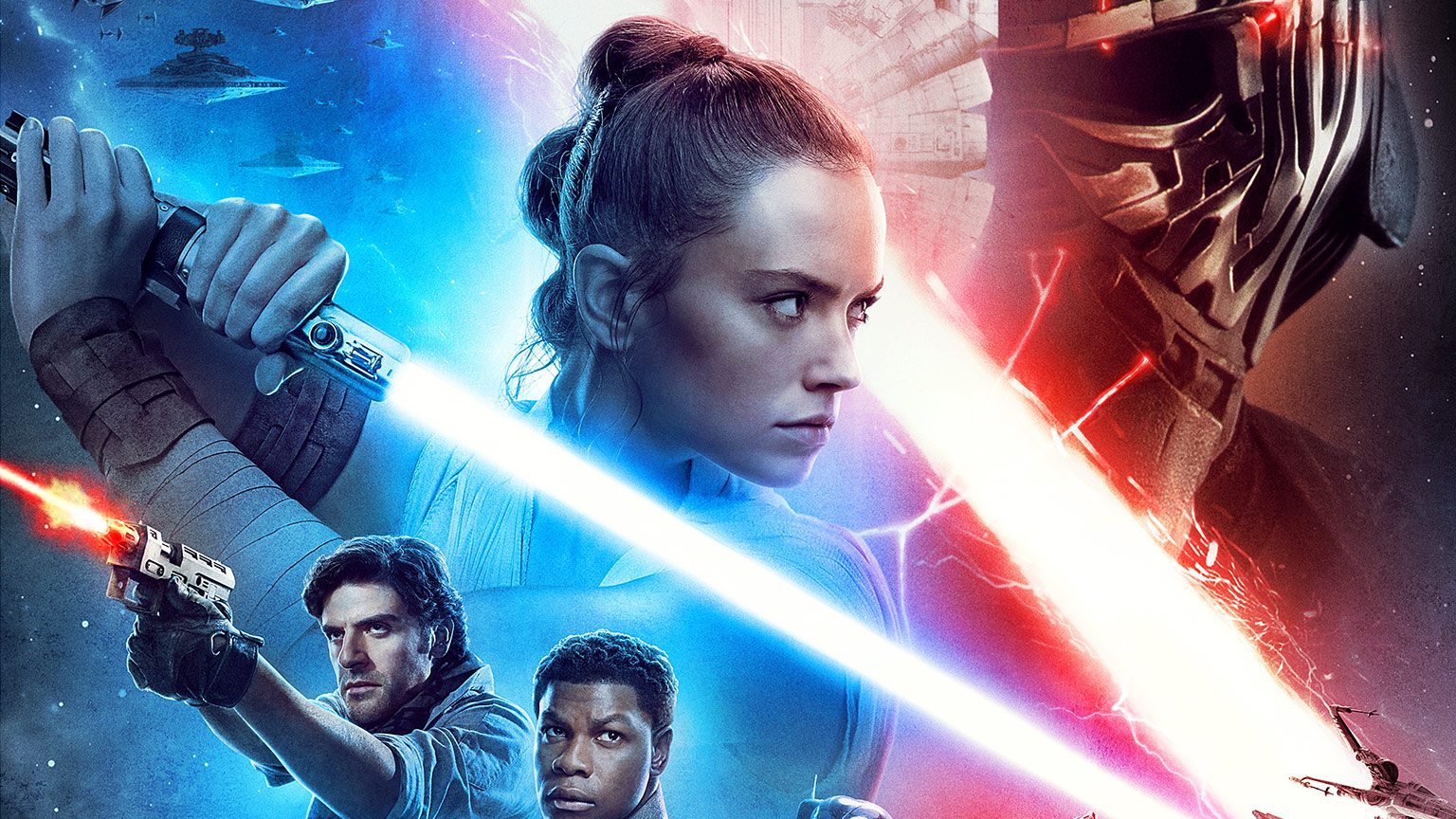 Star Wars: The Rise of Skywalker theatrical poster upper portion with Rey, Kylo Ren, and others