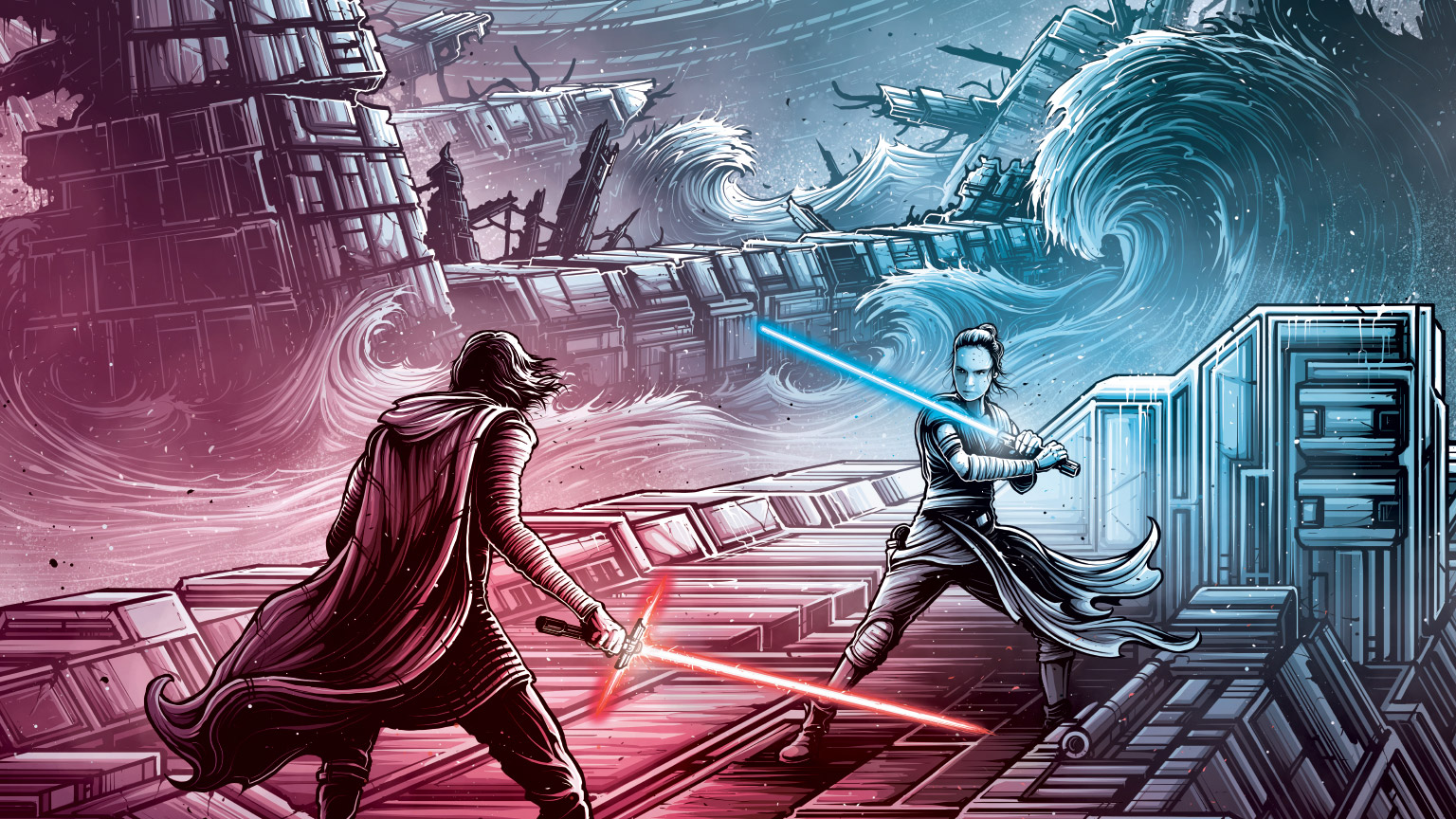 Rey and Kylo Ren in art by Dan Mumford