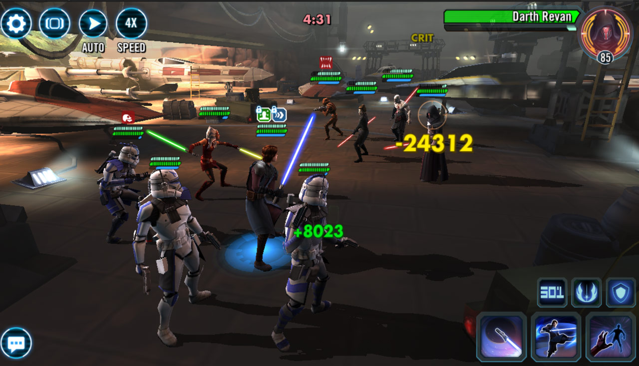 General Anakin Skywalker and clones in Star Wars: Galaxy of Heroes