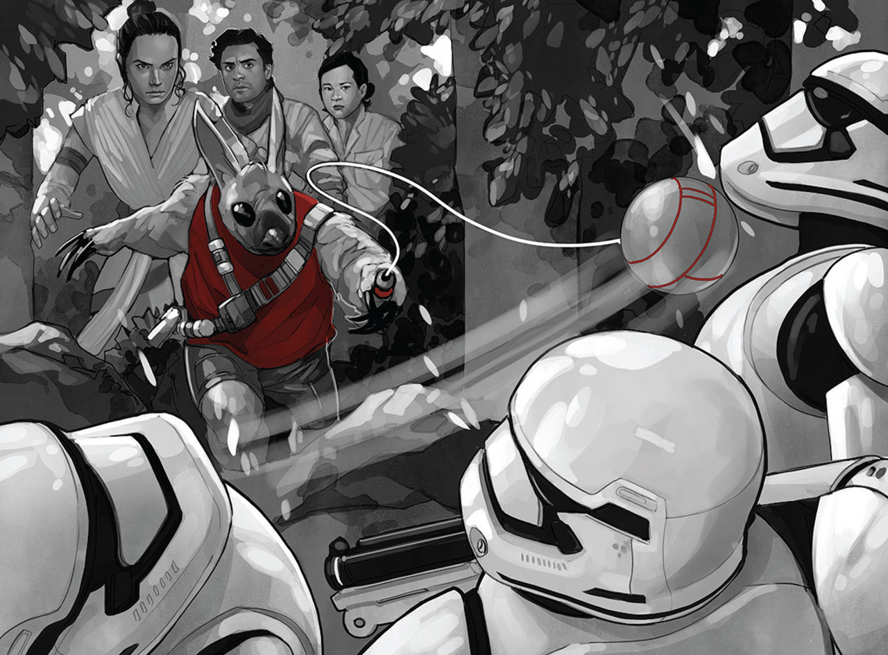 Artwork from Star Wars: Spark of the Resistance, featuring Rey, Poe, and Rose versus stormtroopers
