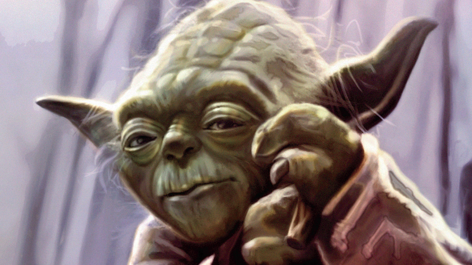 A painting of Yoda from The Skywalker Saga book.