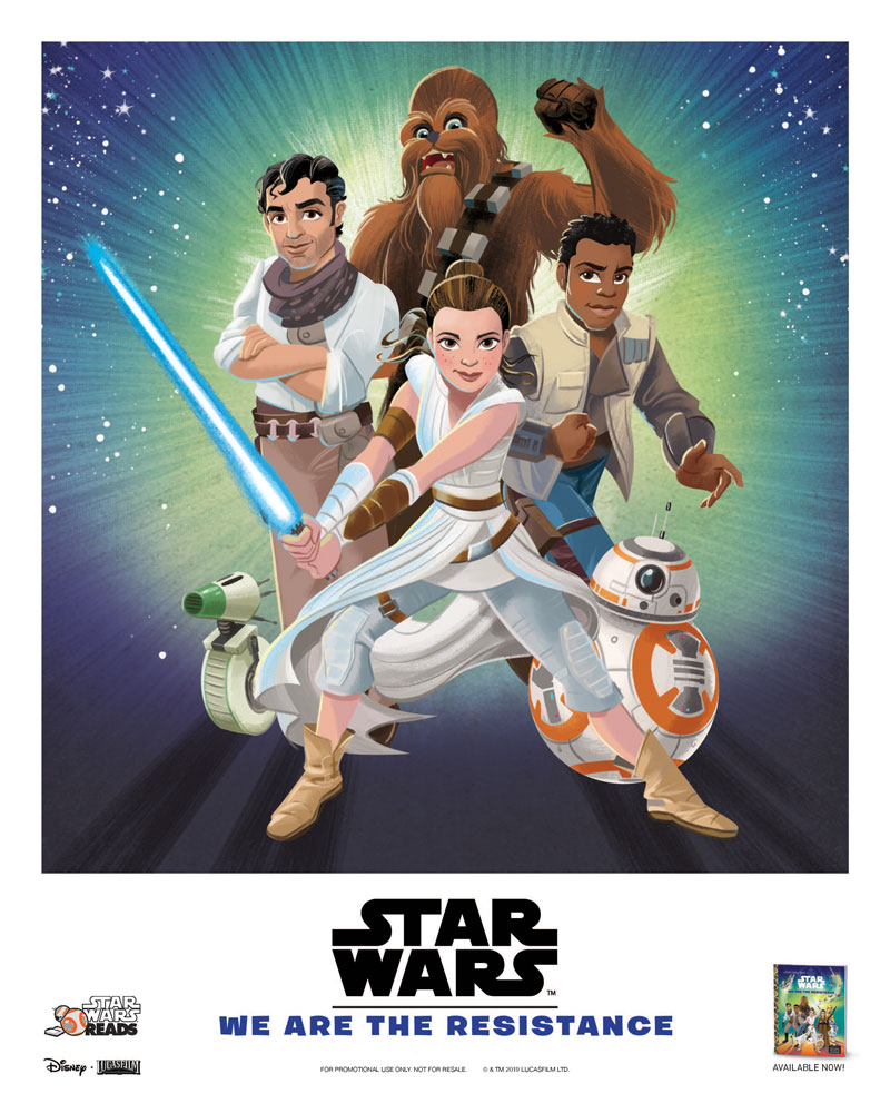 Star Wars Reads poster: Rey, Finn: Poe, and Chewie