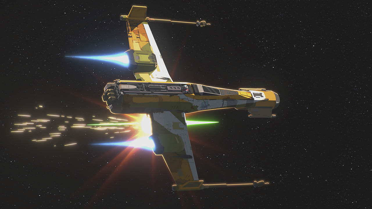 Kaz ship hit by TIE fighter