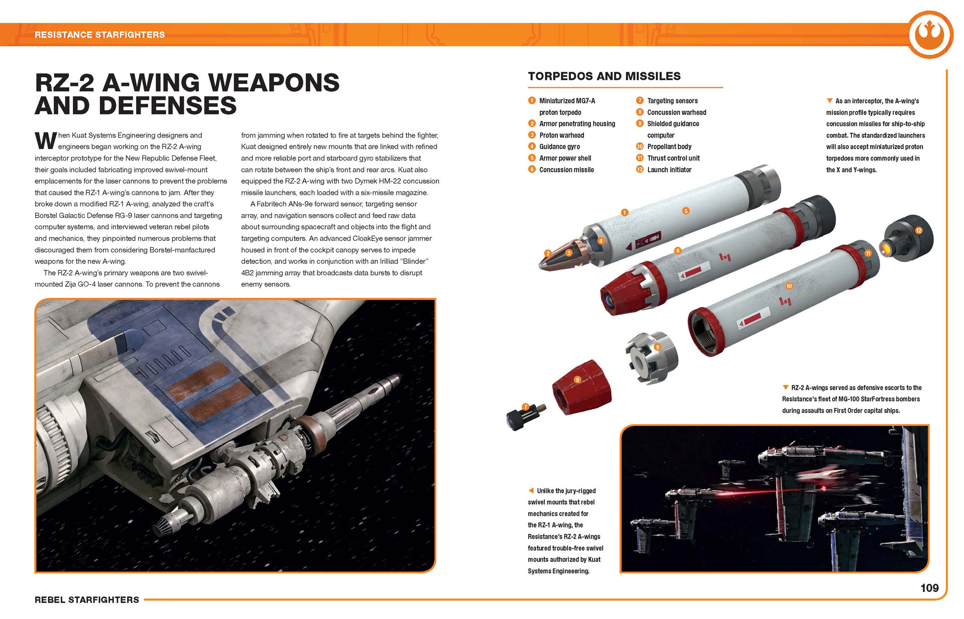 Rebel Starfighters book - A-wing spread