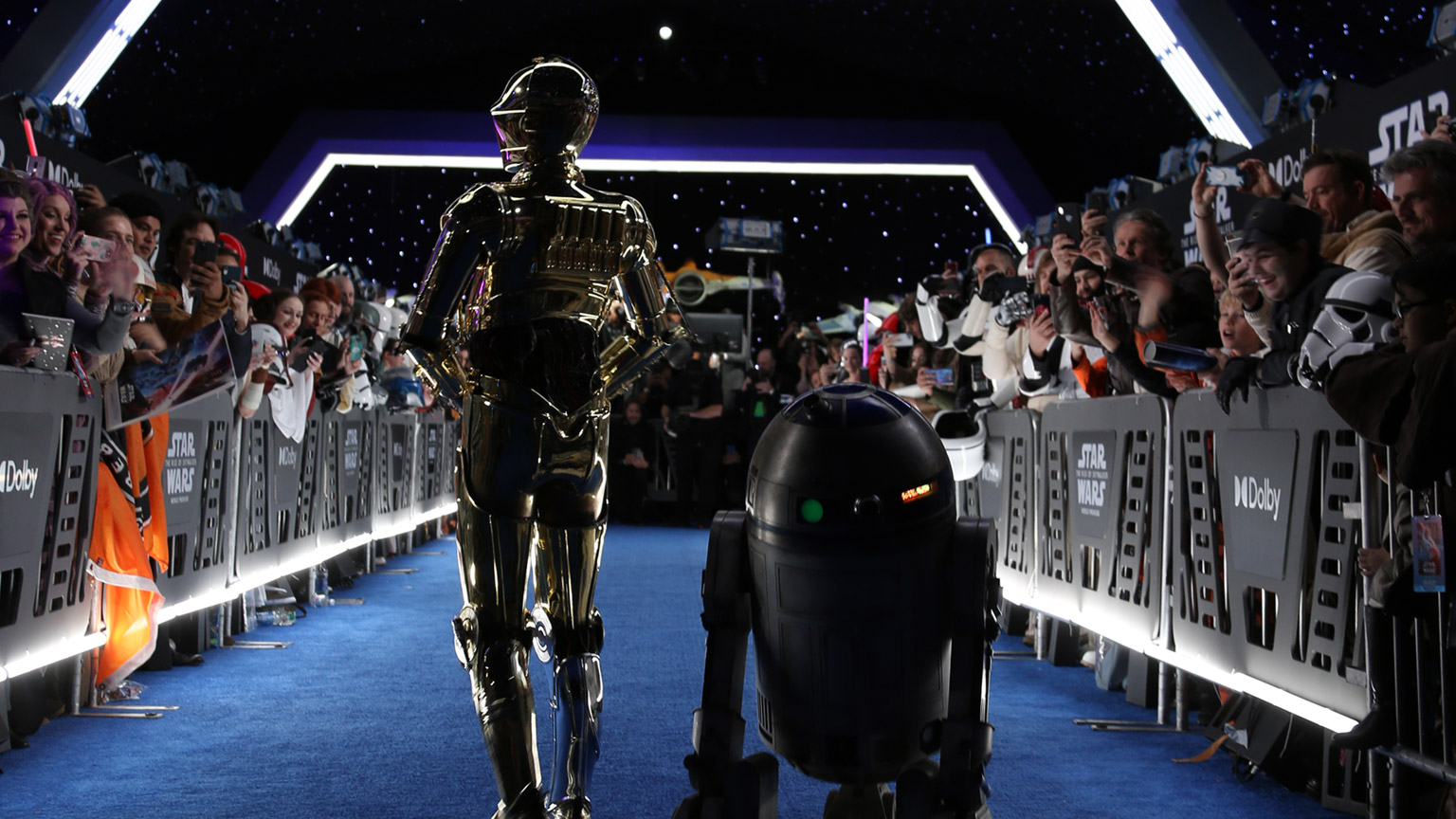 Fan greet R2-D2 and C-3PO on the blue carpet.