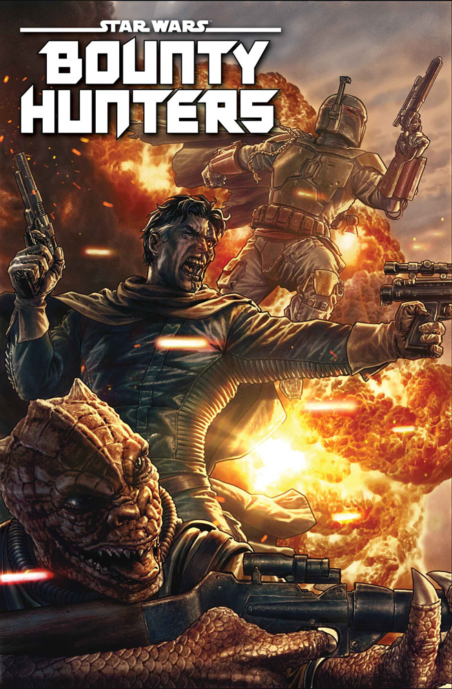 Boba Fet, Valance, and Bossk on the cover of Star Wars: Bounty Hunters #2.