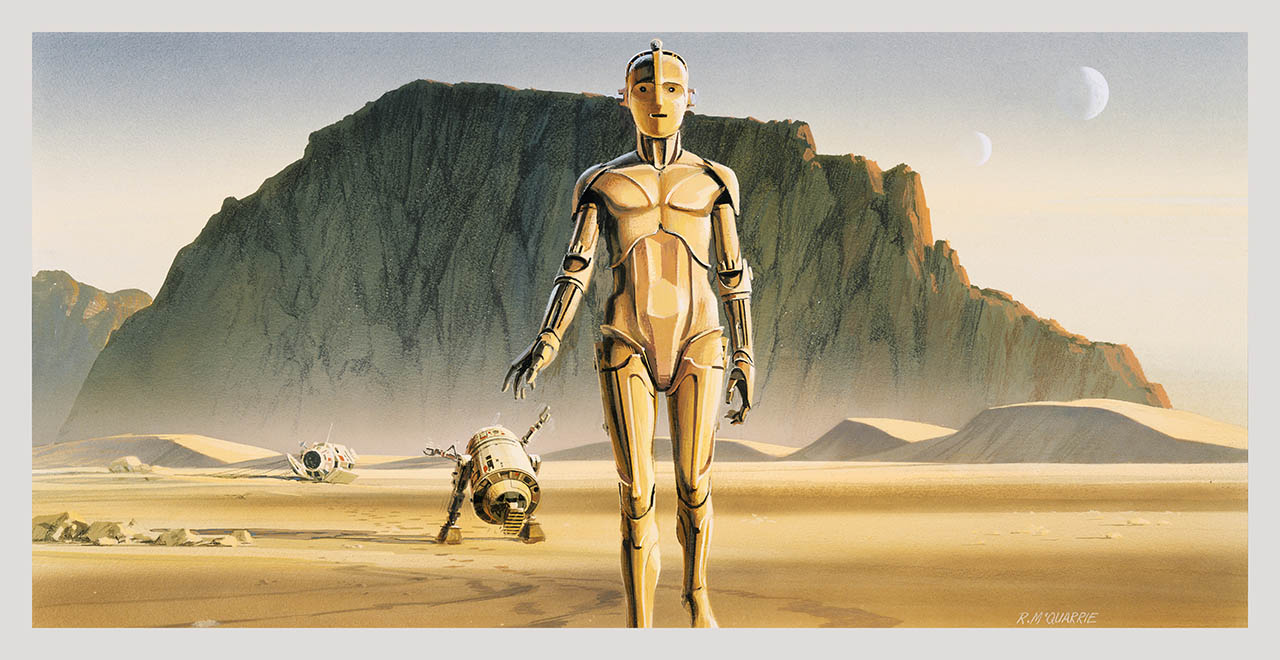 C-3PO and R2-D2 on the planet of Tatooine after landing in the escape pod.