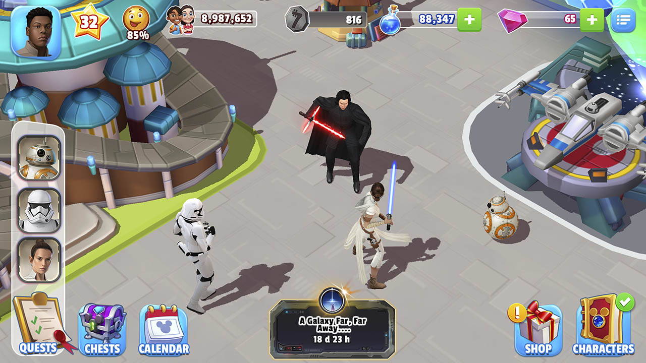 Disney Magic Kingdom gameplay Kylo Ren and Rey