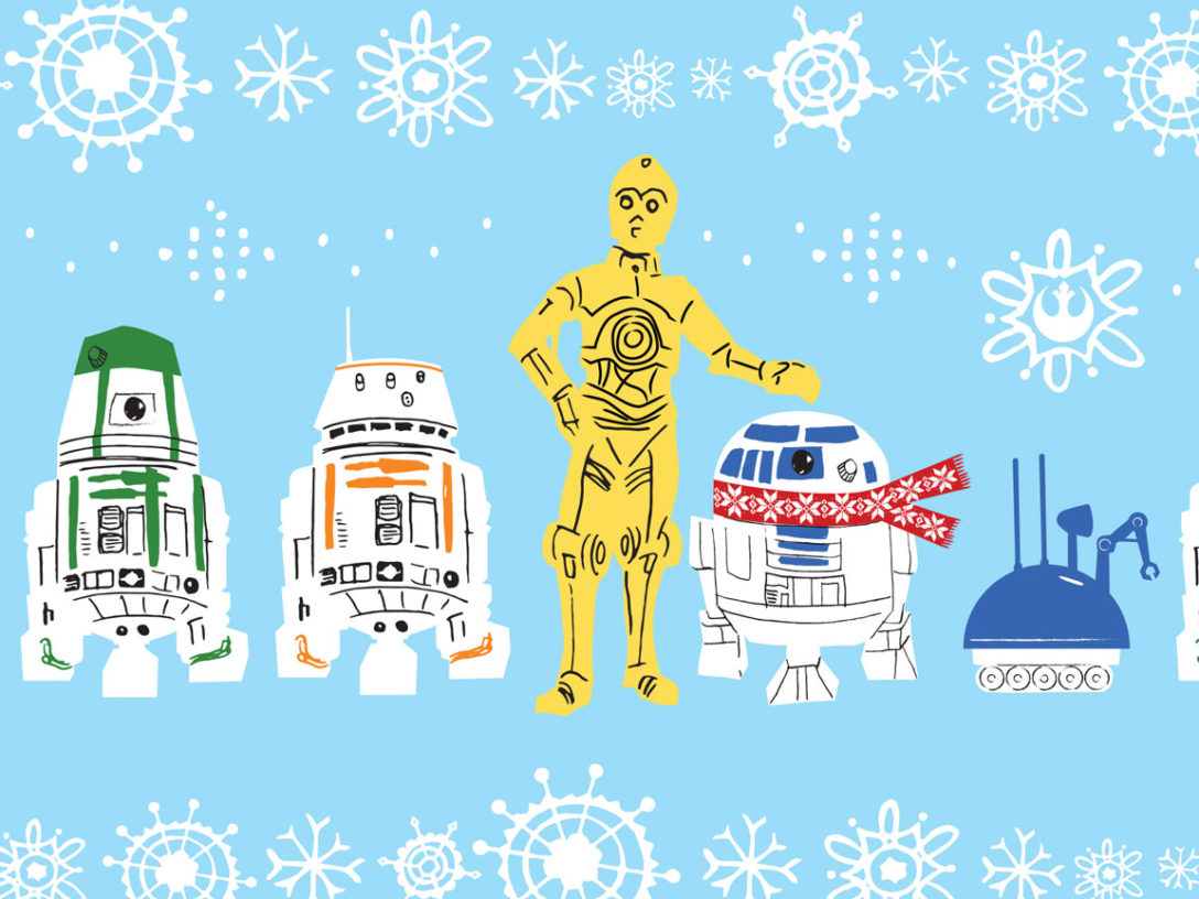 Star Wars wrapping paper image with C-3PO and other droids
