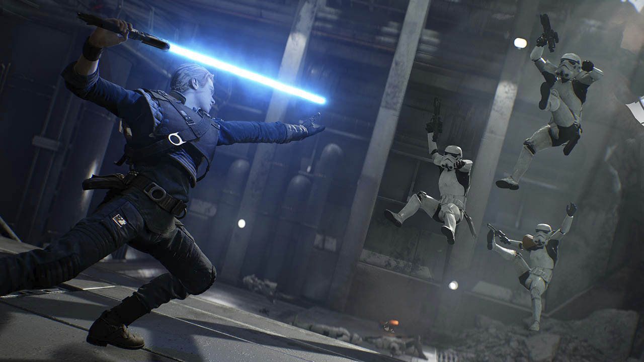 Cal and stormtroopers in Star Wars Jedi Fallen Order