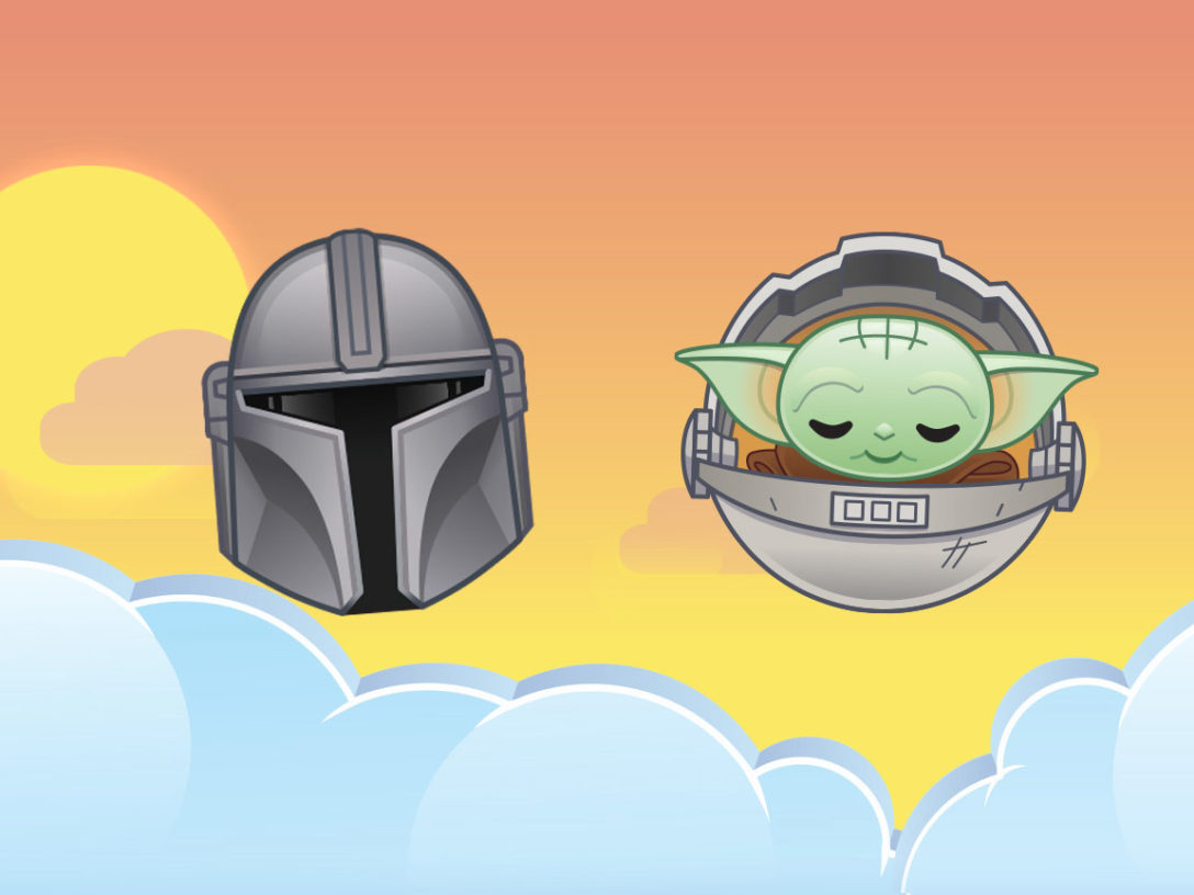 The Child and the Mandalorian in Emoji Blitz