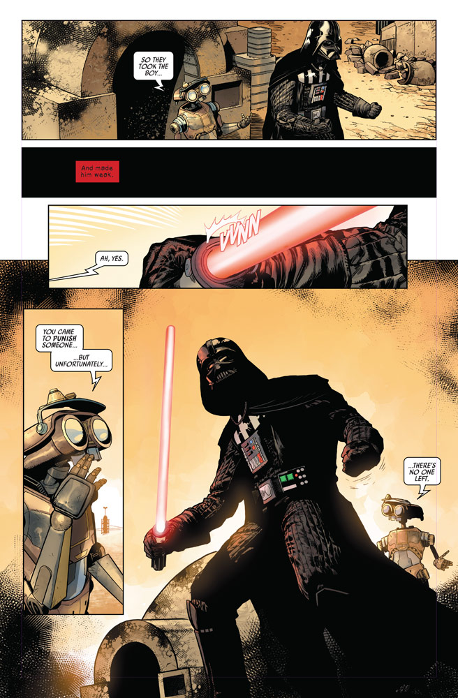 Marvel's Darth Vader #1 - Vader angrily exits the Lars homestead