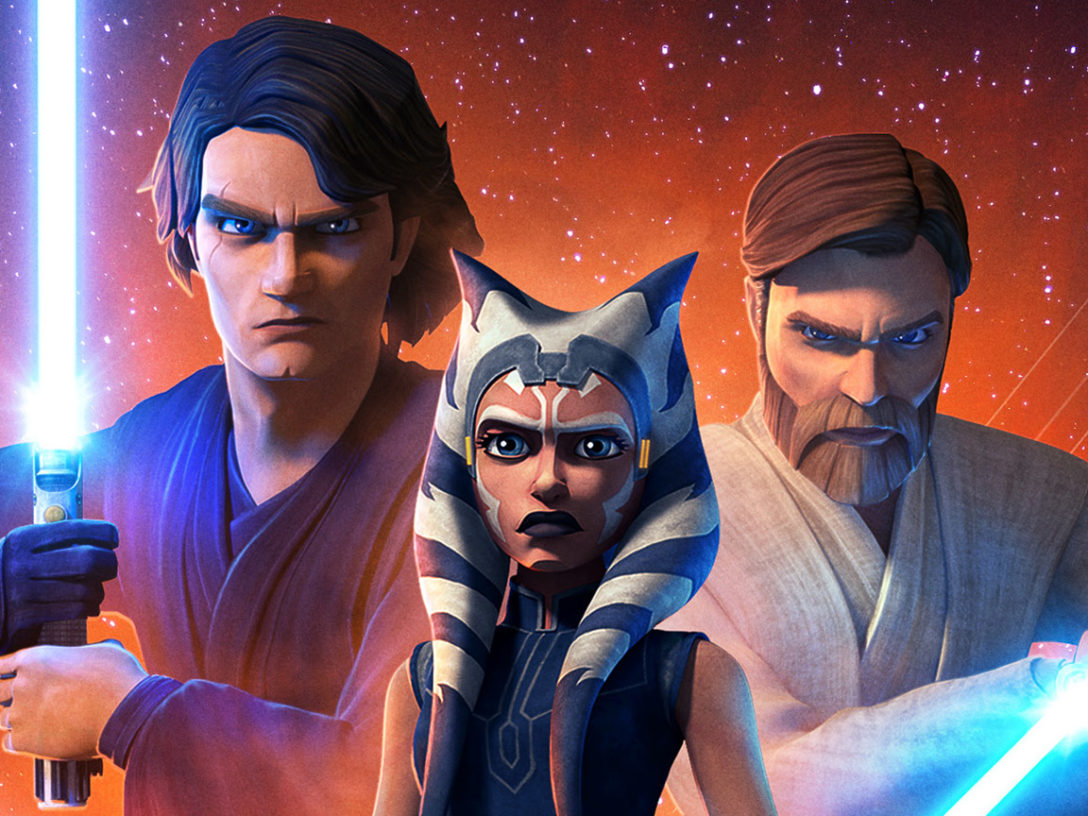 Anakin Skywalker, Ahsoka Tano, and Obi-Wan Kenobi from the Star Wars: The Clone Wars final season poster