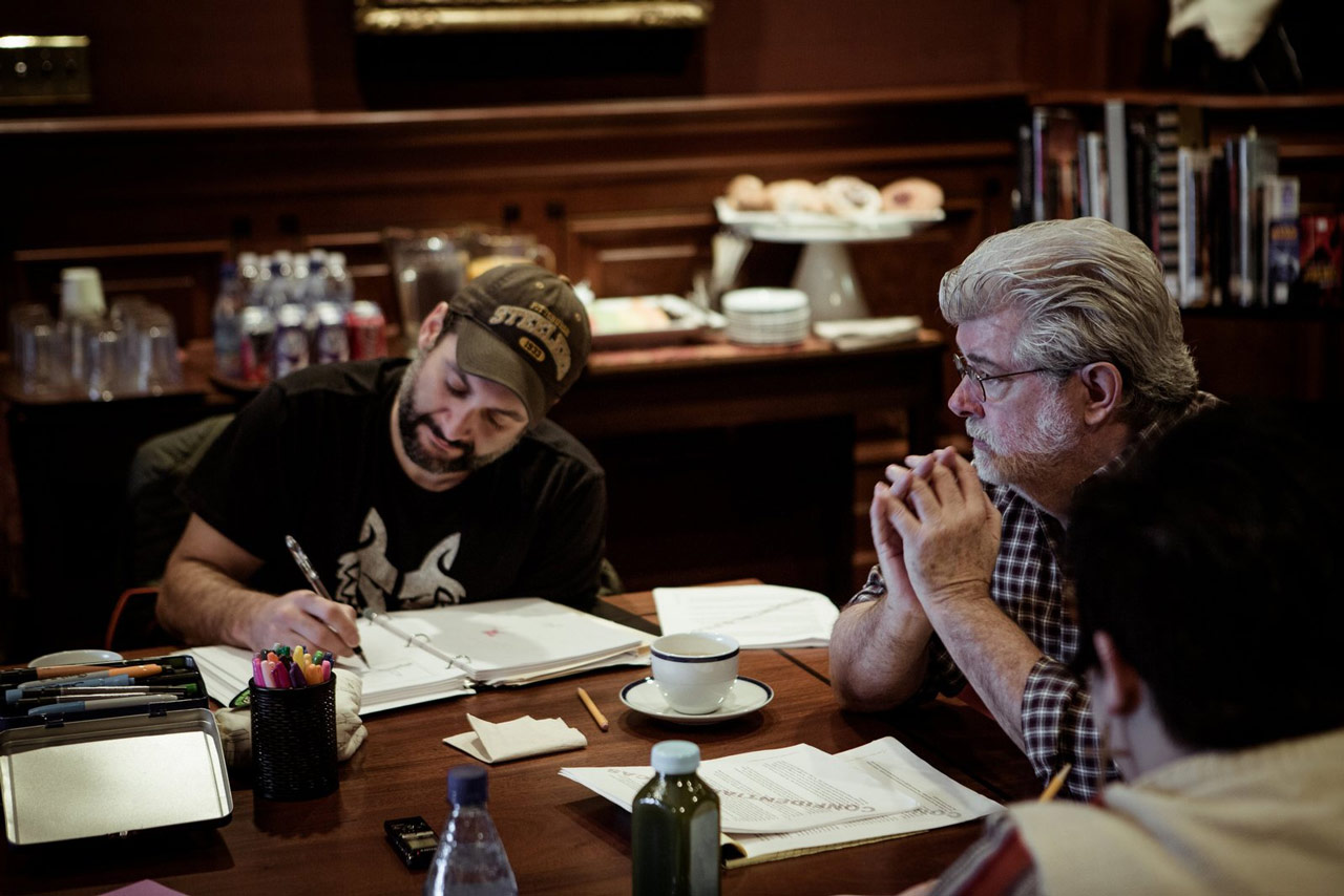 Dave Filoni and George Lucas during the Clone Wars conference