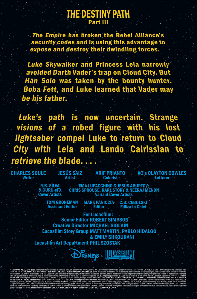 Marvel's Star Wars #3 crawl