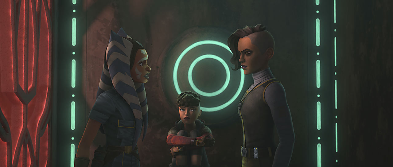 "Ahsoka Tano with the Martez sisters in the Star Wars: The Clone Wars episode ""Dangerous Debt"""