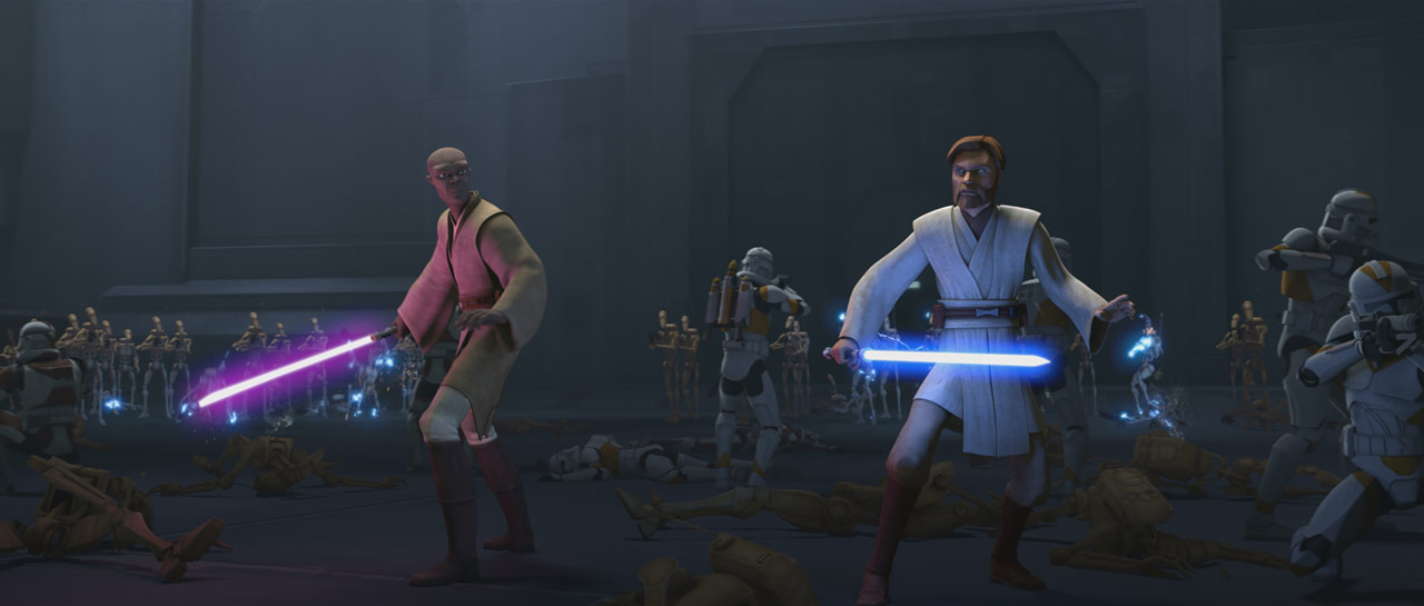 "Mace Windu and Obi-Wan Kenobi in the Star Wars: The Clone Wars episode ""Unfinished Business"""
