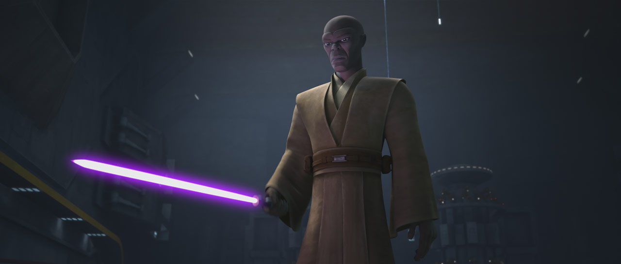 "Mace Windu in the Star Wars: The Clone Wars episode ""Unfinished Business"""