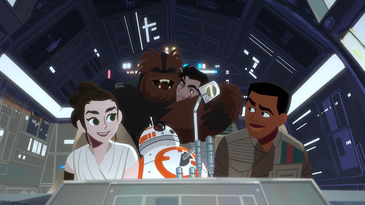Rey, Finn, Kylo Ren, BB-8, and Chewbacca in Star Wars Galaxy of Adventures