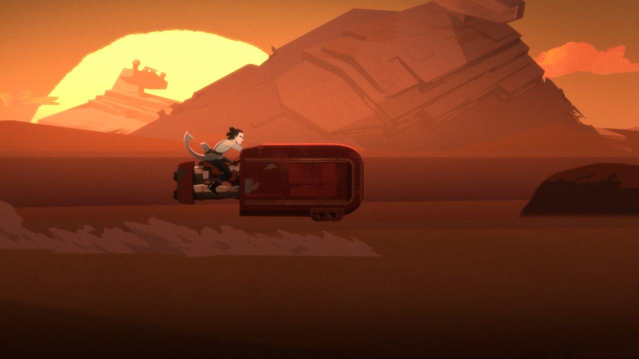 Rey on her speeder in Star Wars Galaxy of Adventures