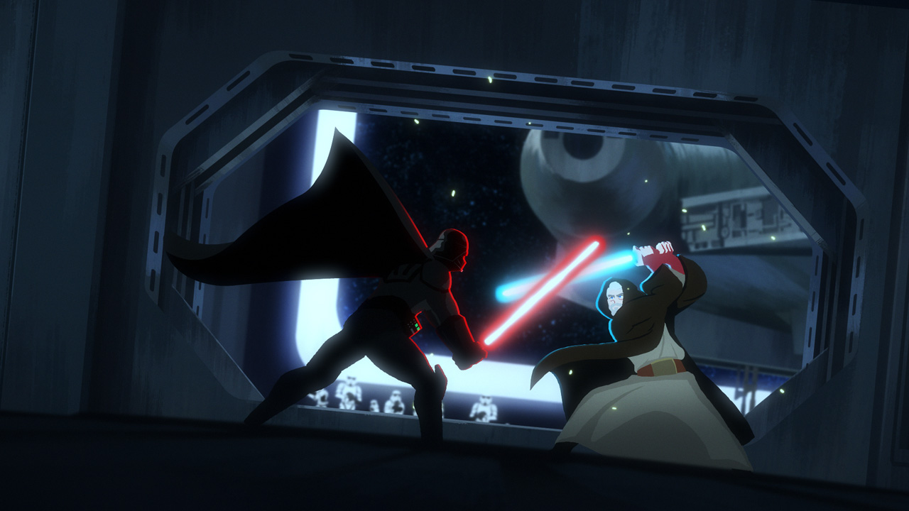 Darth Vader versus Obi-Wan Kenobi in Star Wars Galaxy of Adventures