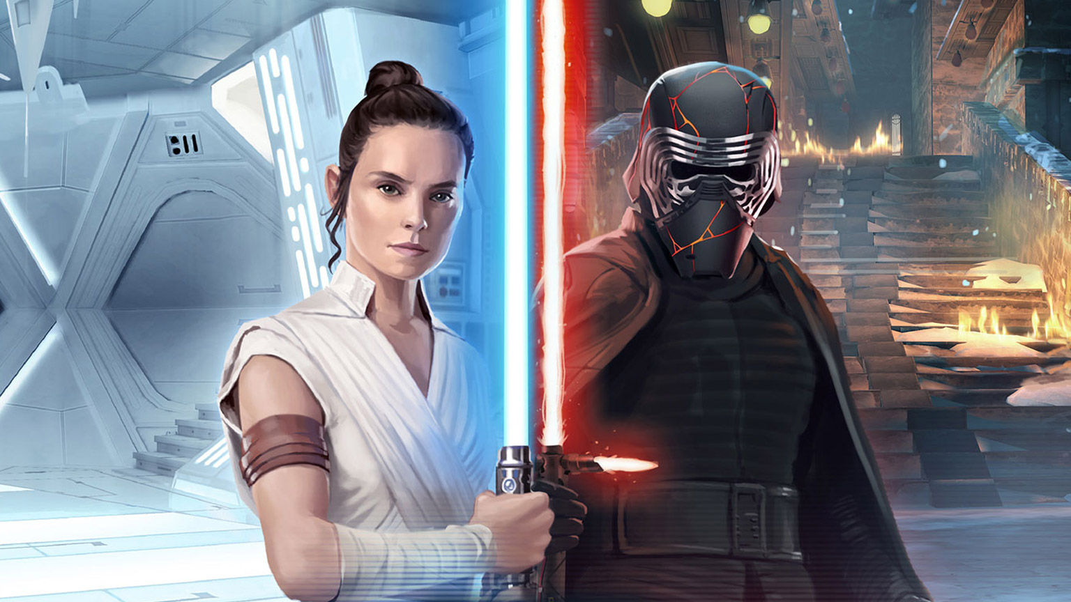 Rey and Kylo Ren in Star Wars: Galaxy of Heroes.