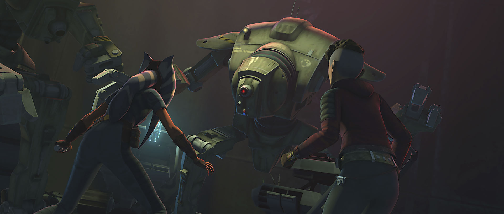 """Gone without a Trace"" still Ahsoka and droid"