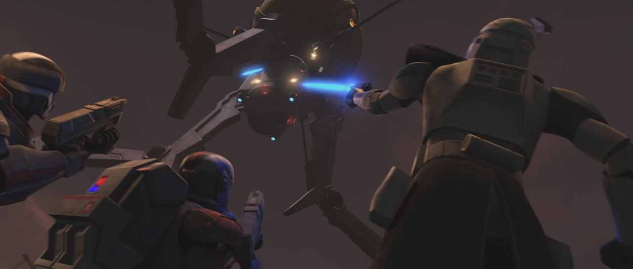 "Clones blast on octuptarra droid in the Star Wars: The Clone Wars episode ""On the Wings of Keeradaks"""