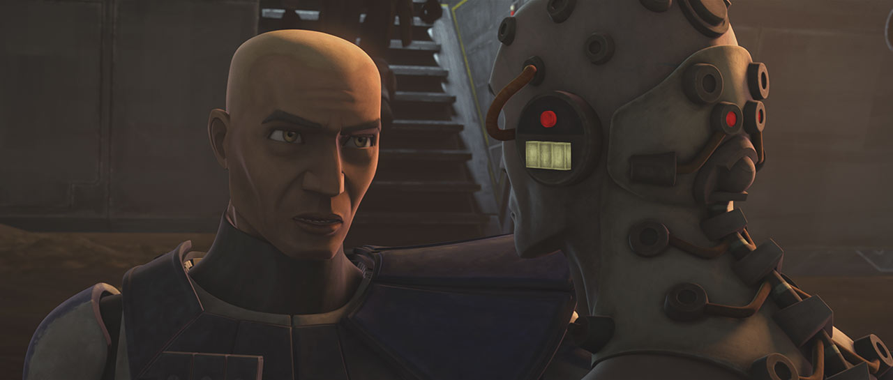 "Rex and Echo in Octuptarra droids attack in the Star Wars: The Clone Wars episode ""On the Wings of Keeradaks"""