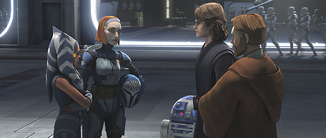 """Old Friends Not Forgotten"" still of Ahsoka talking to Obi-Wan and Anakin"
