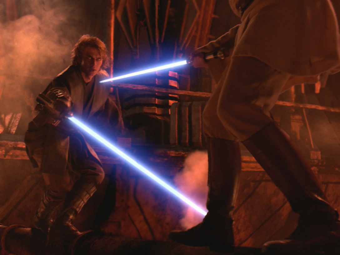 Obi-Wan and Anakin duel on Mustafar.