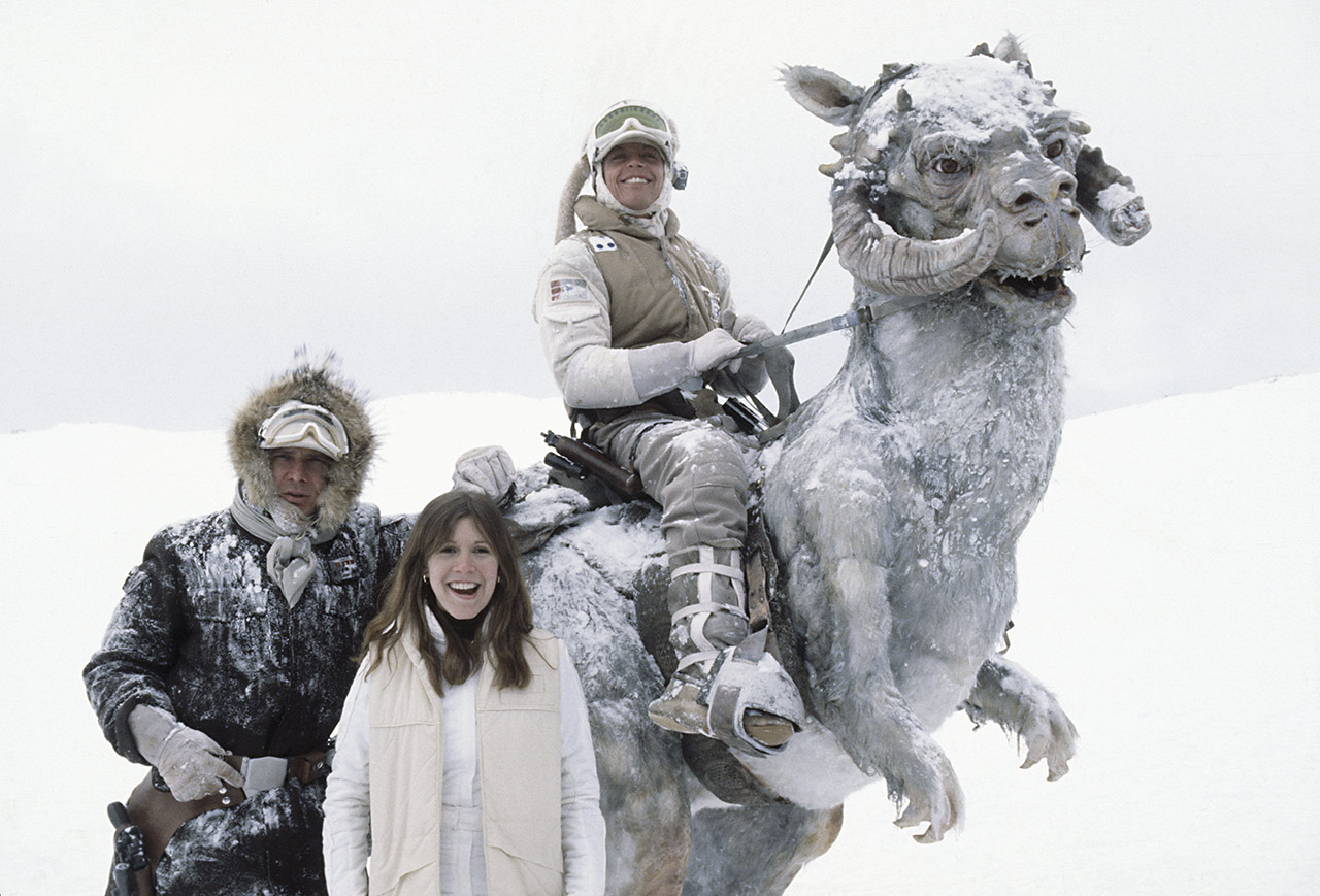 Mark Hamill, Carrie Fisher, and Harrison Ford inThe Empire Strikes Back behind the scenes