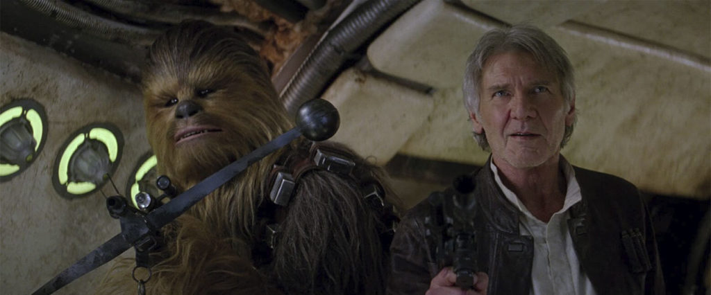Chewie and Han in The Force Awakens