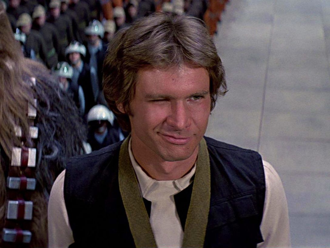 Han Solo winks at Leia as he gets his medal in Star Wars: A New Hope.
