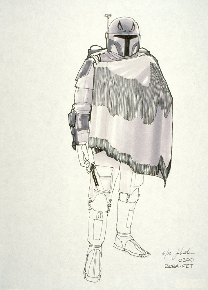 Ralph McQuarrie's concept painting of the super trooper. Now Boba Fett, the armor continues to evolve in this Joe Johnston sketch.