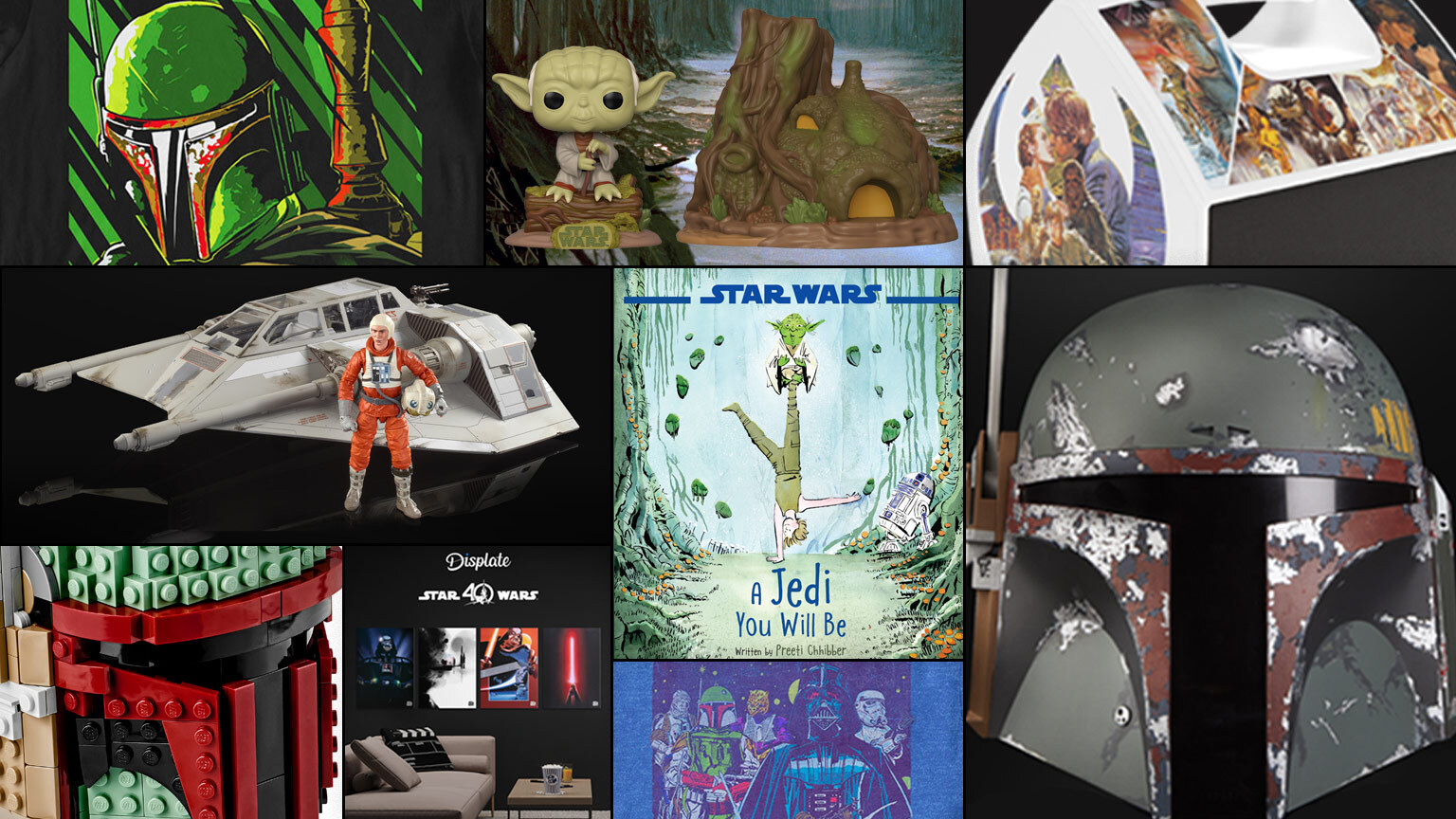 Collage of Star Wars: The Empire Strikes Back toys, books, and shirts