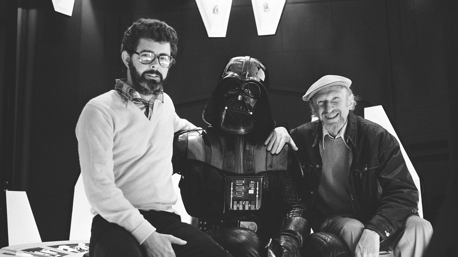 George Lucas and Darth Vader on the set of The Empire Strikes Back