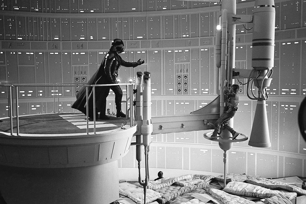 A behind-the-scenes photo of The Empire Strikes Back.