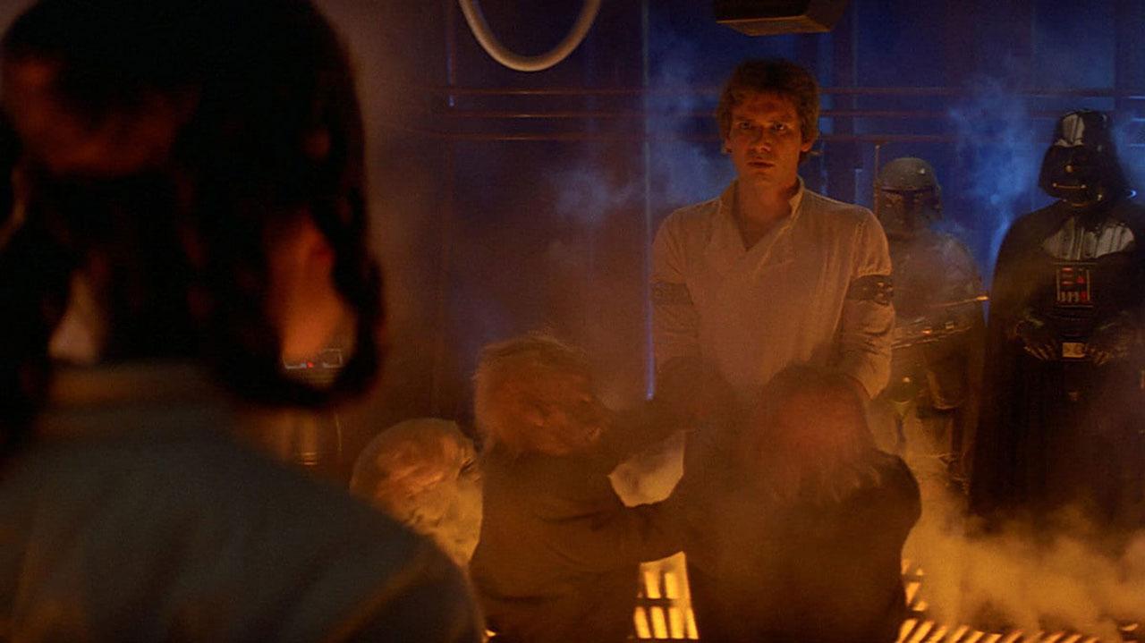 Han Solo about to be frozen in carbonite