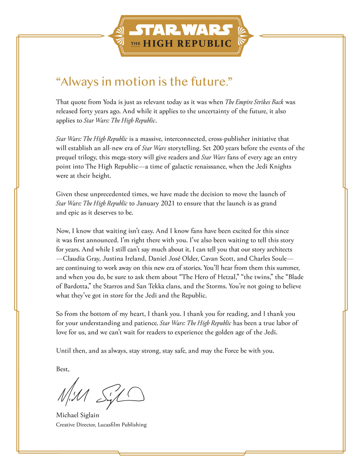 Letter from Lucasfilm's Michael Siglain on Star Wars: The High Republic.