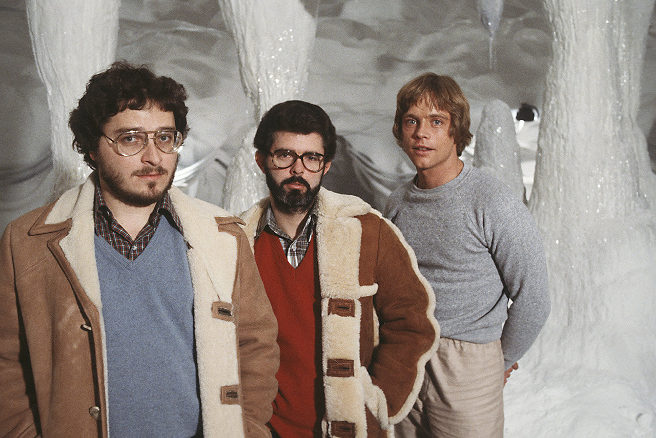George Lucas on the Hoth set of The Empire Strikes Back