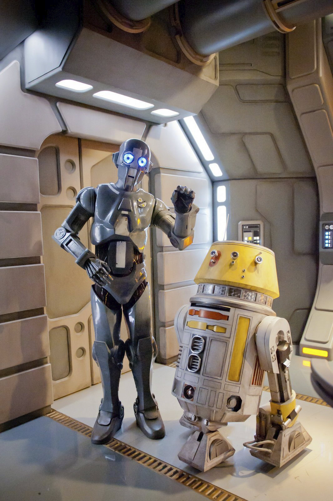 The hilarious new droid duo of AD-3 (voiced by Mary Holland) and LX-R5.