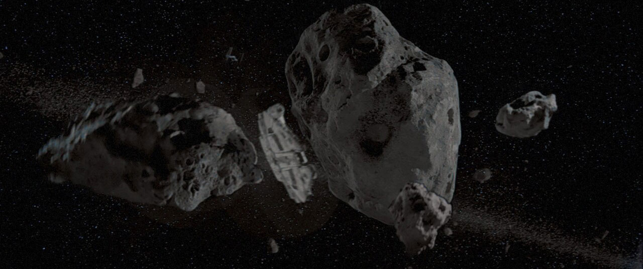 Millennium Flacon through the asteroid field