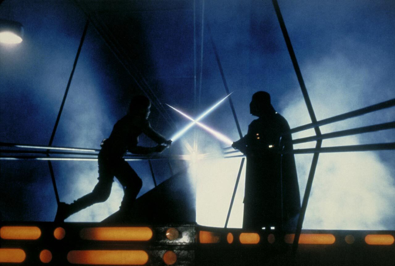 Darth Vader and Luke dueling