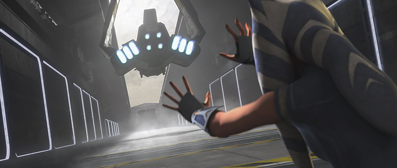Ahsoka letting go of the shuttle to help Rex