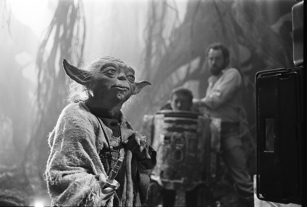 Yoda and R2-D2 on the set of The Empire Strikes Back