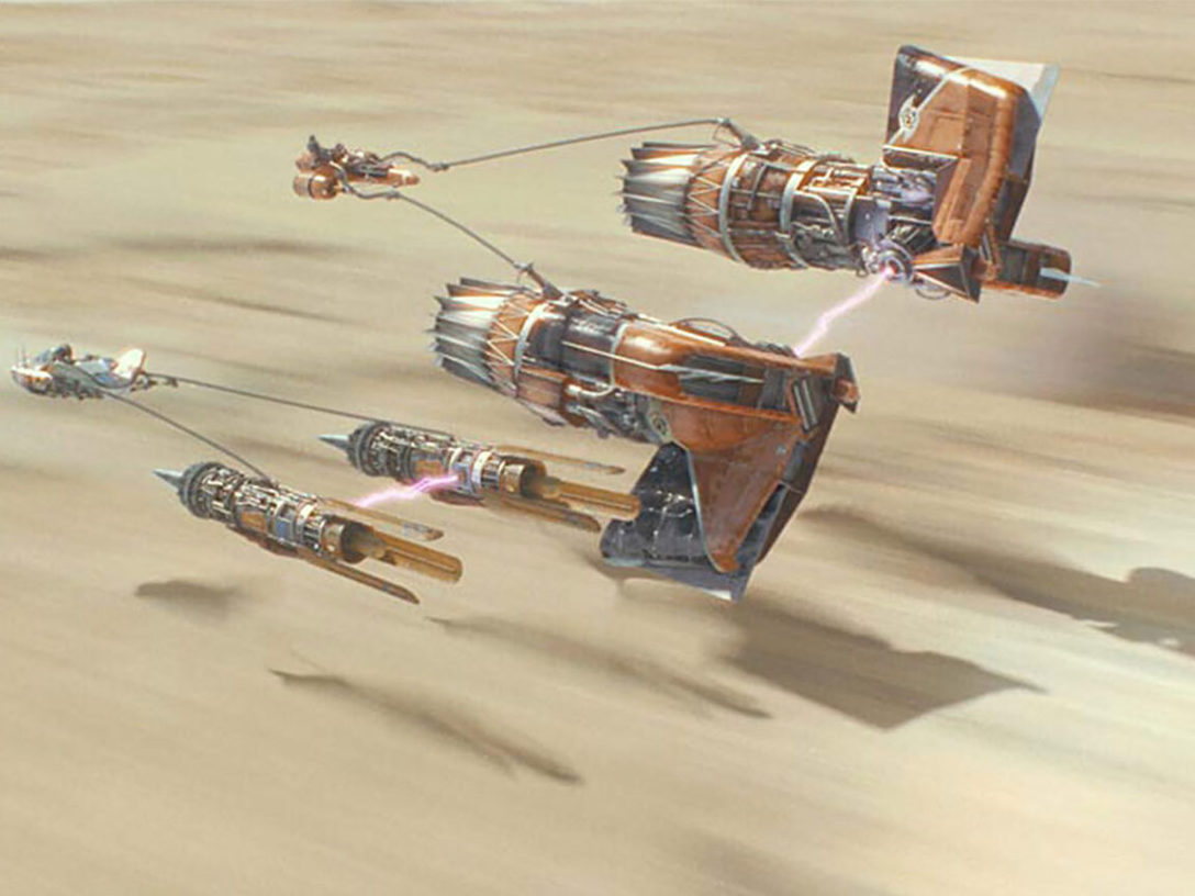Anakin and Sebulba battle in the podrace