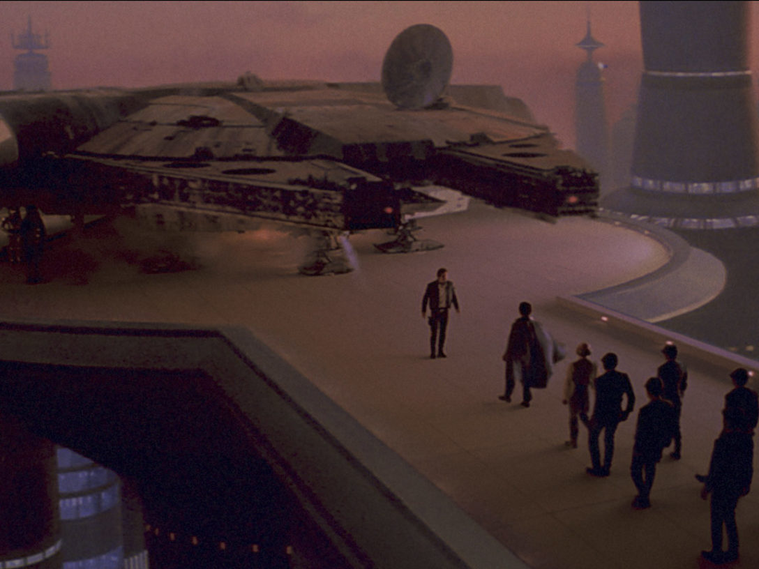 The Millennium Falcon docks at Cloud City